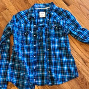Hollister Ladies/girls Blue plaid shirt size M